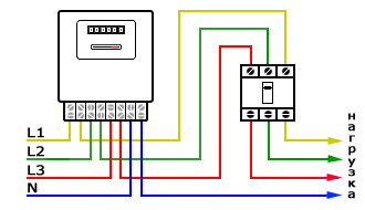 Схема подключения счетчика 3-х фазного